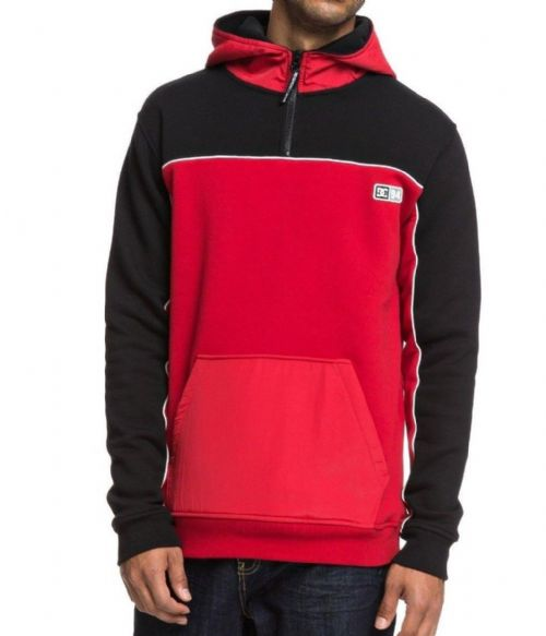 DC SHOES MENS HOODY TOP.CLEWISTON HALF ZIP RED HOODED FLEECE HOODIE 8W 390 KVJO